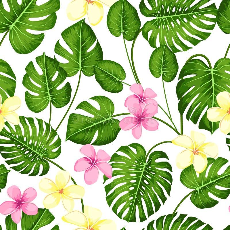 与异乎寻常的棕榈叶的热带无缝的样式和热带花 ??monstera 夏威夷样式 r 向量例证
