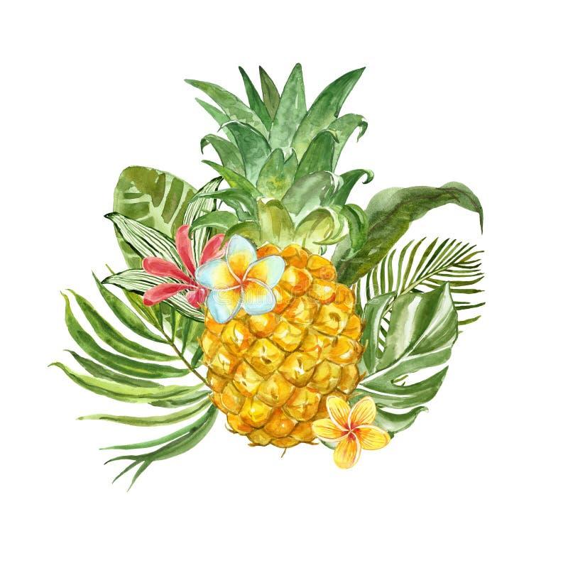 与异乎寻常的热带植物,叶子、花和新鲜的菠萝的夏令时构成,隔绝在白色背景 向量例证