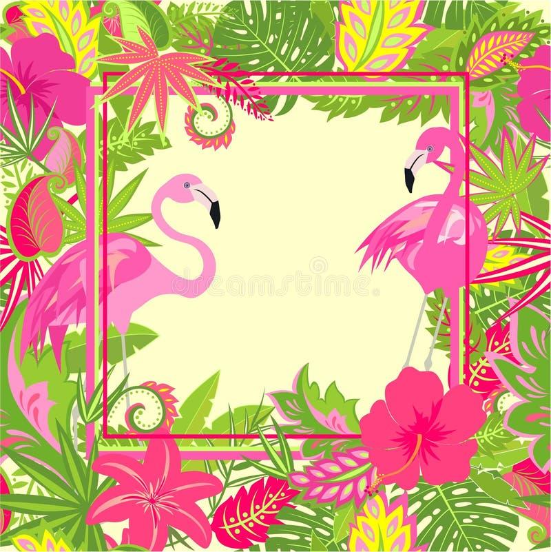 与异乎寻常的花、热带叶子和桃红色火鸟的美丽的夏威夷墙纸婚姻和党邀请的, T恤杉pri 向量例证