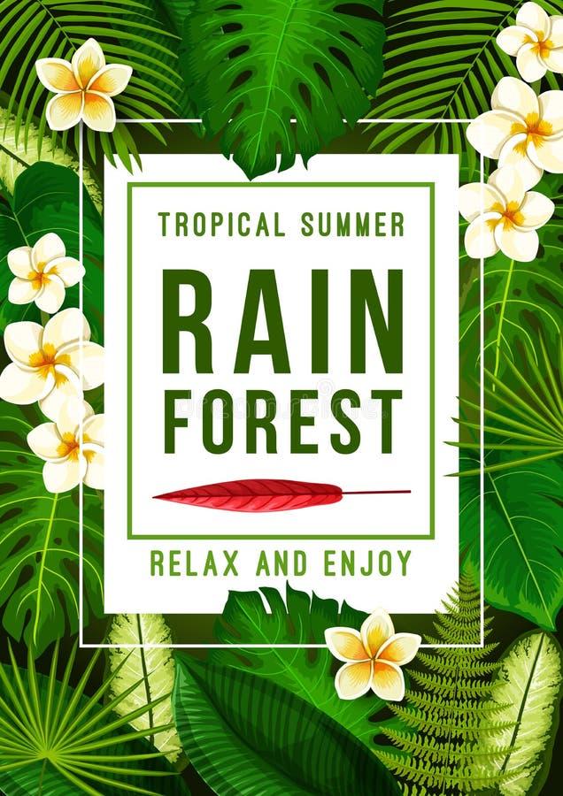 与异乎寻常的花卉框架的热带夏天横幅 库存例证