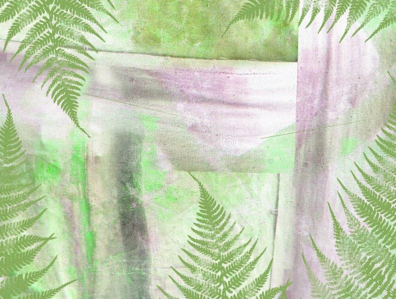 与异乎寻常的植物和树的破旧的抽象热带背景 向量例证