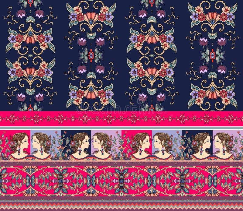 与异常的边界的美好的花卉背景 女孩,花,鸟,几何装饰品画象  向量例证