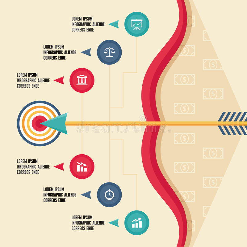 与弓、箭头和目标的Infographic概念为 向量例证
