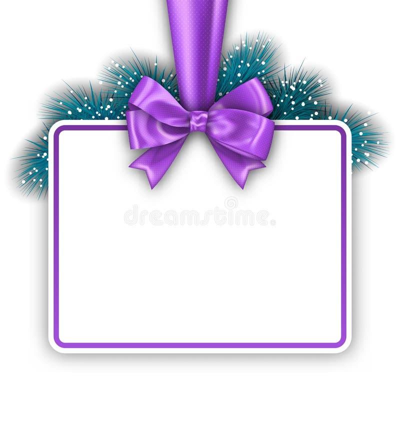 Download 与弓丝带和杉木枝杈的贺卡 向量例证. 插画 包括有 手册, 靠山, 紫色, 当事人, 节假日, 邀请, 祝贺 - 62529611