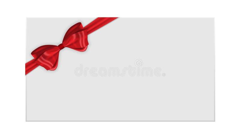 与弓和丝带传染媒介例证的礼品券模板 皇族释放例证