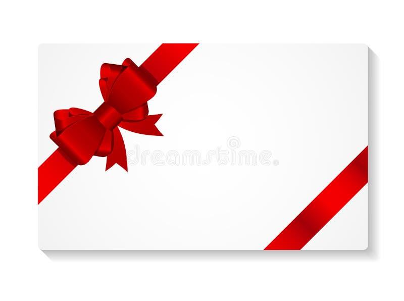 与弓和丝带传染媒介例证的礼品券 库存例证