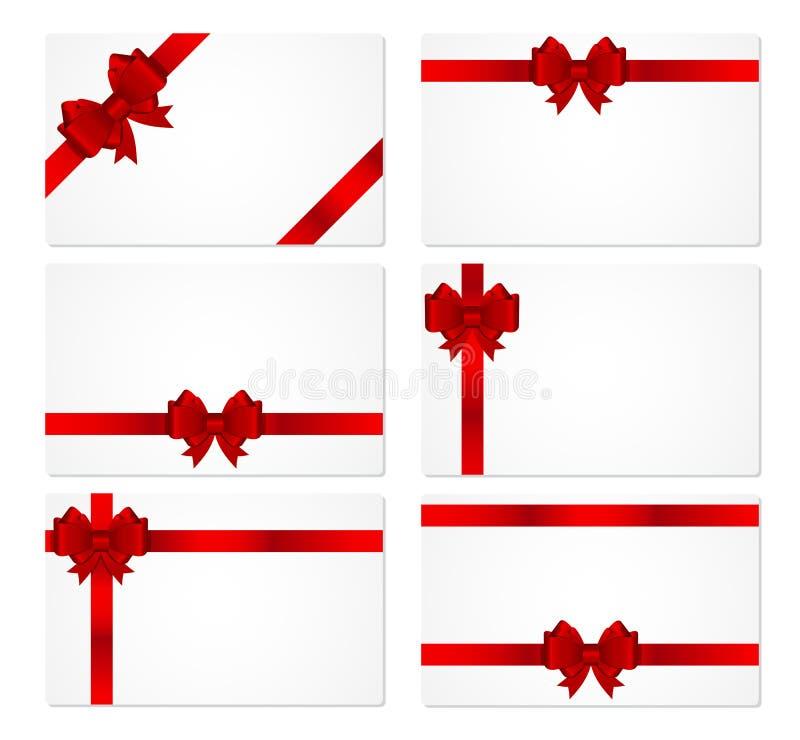 与弓和丝带传染媒介例证的礼品券 皇族释放例证