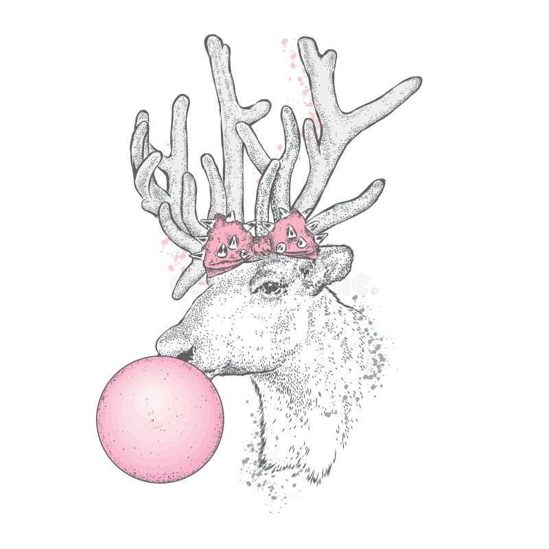 与弓的一头美丽的鹿吹胶泡影  向量例证
