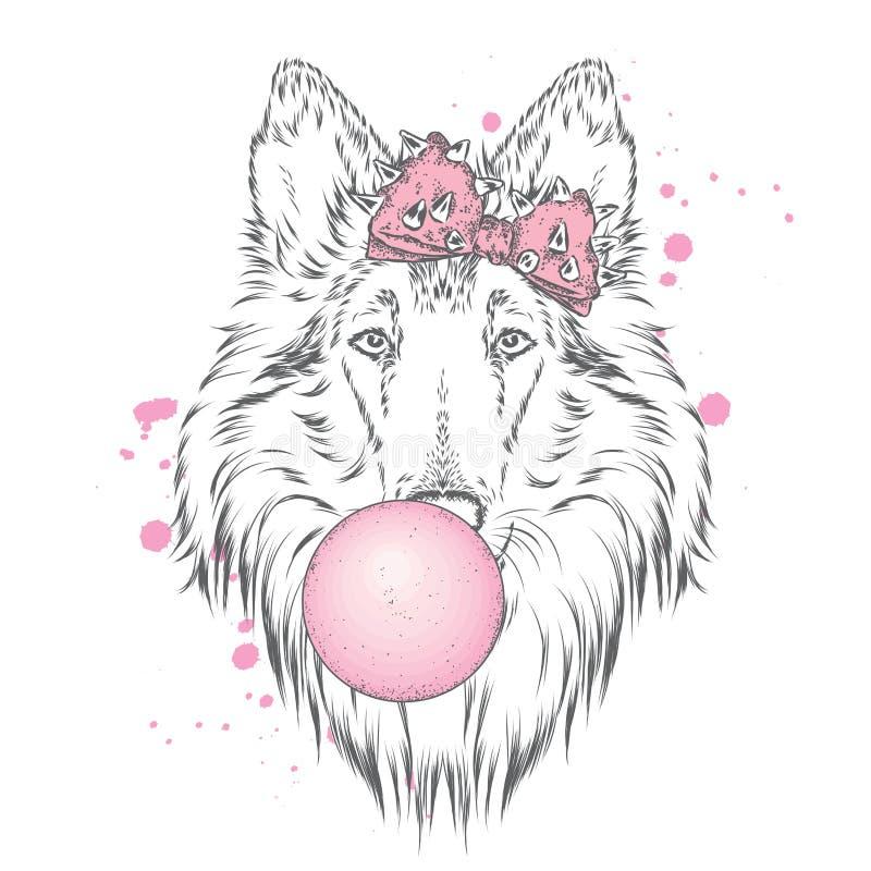 与弓的一条美丽的狗吹反刍食物 纯血统小狗 大牧羊犬 库存例证