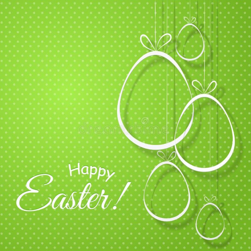 与弓的创造性的鸡蛋在模板海报横幅卡片设计的一个绿色背景愉快的复活节文本元素  皇族释放例证