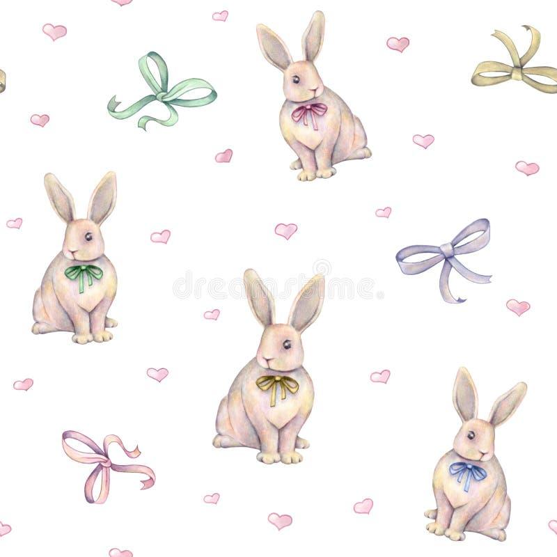 与弓的可爱的水彩兔子在白色背景 画开花的河结构树水彩绕的银行 手工 无缝的模式 向量例证