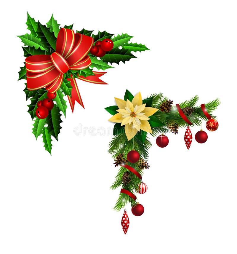 与弓的圣诞节装饰 库存例证