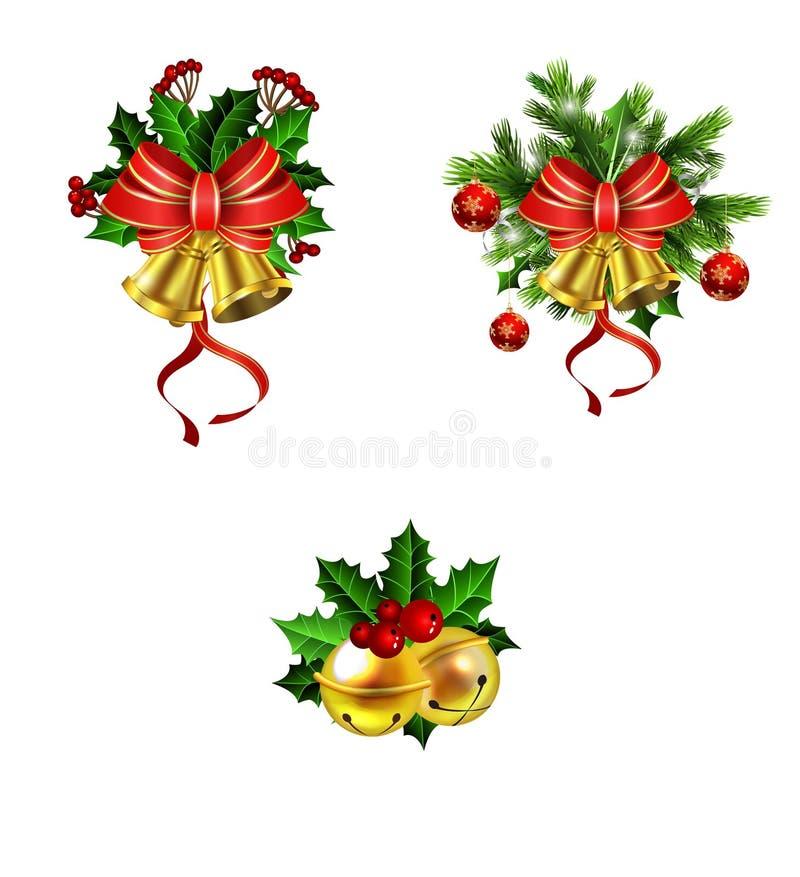 与弓的圣诞节装饰 皇族释放例证