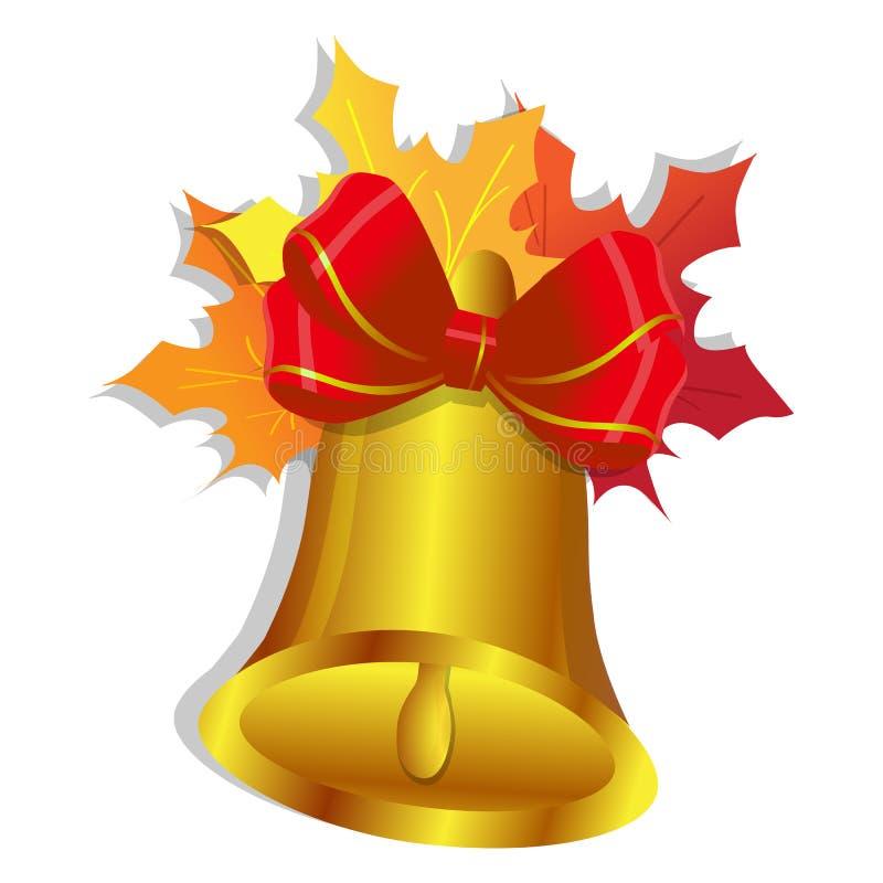 与弓的在白色背景隔绝的金铃和枫叶,校铃 库存例证