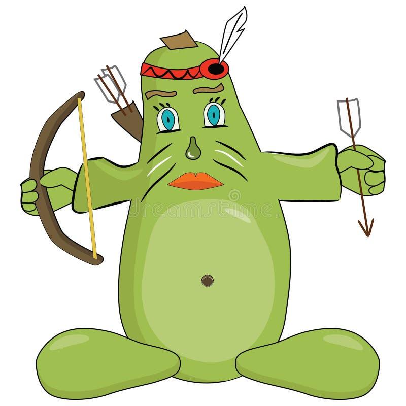 与弓的大绿色夏南瓜 向量例证