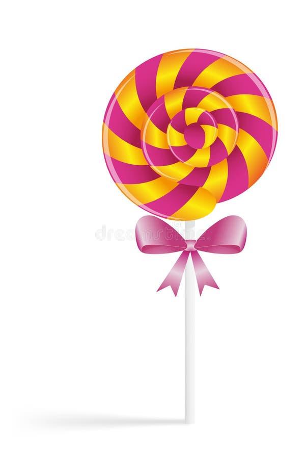 与弓的桃红色糖果 免版税库存照片