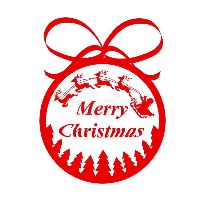 与弓的红色装饰球与驯鹿a的圣诞树的 库存例证
