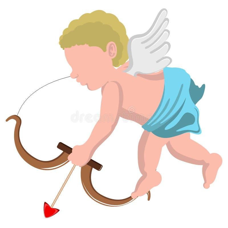 与弓的被隔绝的丘比特天使 向量例证