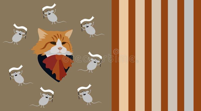 与弓的逗人喜爱的与在古铜色背景隔绝的白旗的猫和mouses 向量例证