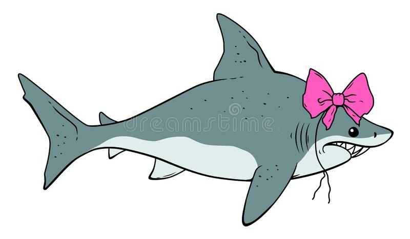 与弓的逗人喜爱的鲨鱼 库存例证