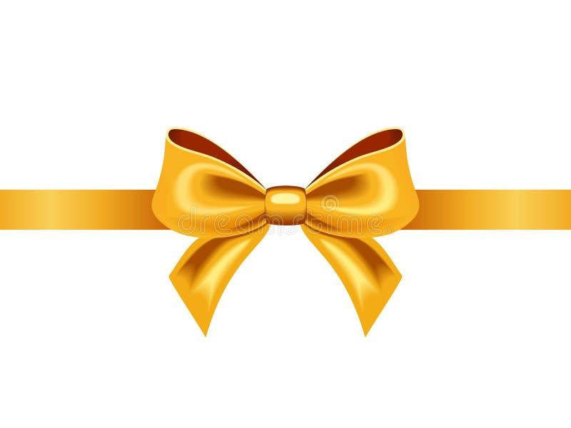 与弓的金黄丝带。传染媒介例证。 皇族释放例证