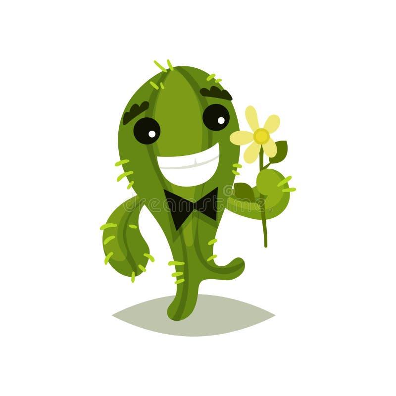 与弓领带和花的绿色仙人掌在手中 有愉快的面孔表示的滑稽的多汁植物 平的传染媒介象 皇族释放例证
