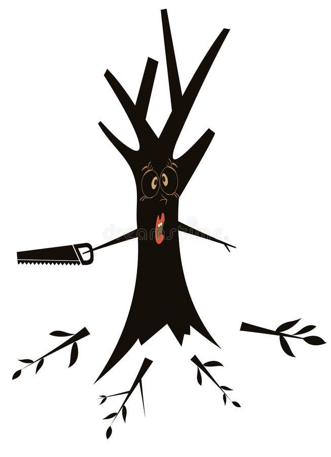 与引形钢锯的树 库存例证