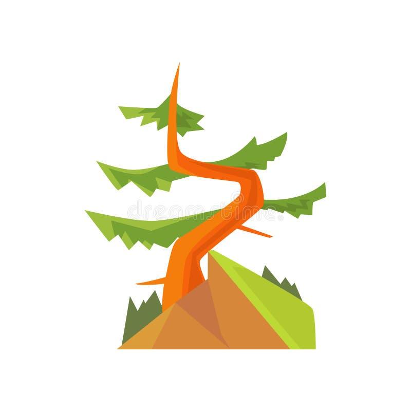 与弯曲的常青杉木的手拉的动画片森林风景在小山 针叶树 森林地自然 平面 皇族释放例证