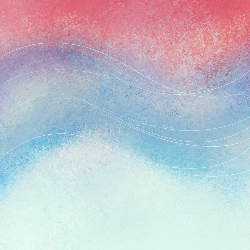 与弯曲的波浪线的退色的红色白色和蓝色背景设计 向量例证