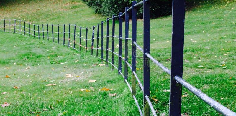 与弯曲的金属栏杆的草 免版税库存照片