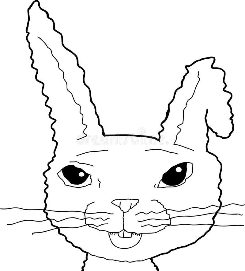 与弯的耳朵的被概述的兔宝宝 库存例证