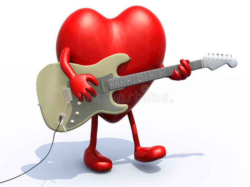 与弹电吉他的胳膊和腿的心脏 向量例证