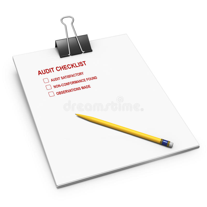 与弹簧夹,审计的笔的清单 皇族释放例证