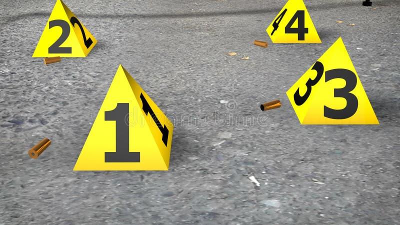 与弹药筒的犯罪现场 向量例证
