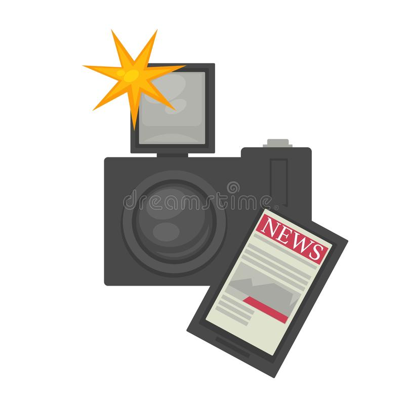 与强有力的闪光和现代片剂的专业photocamera 向量例证