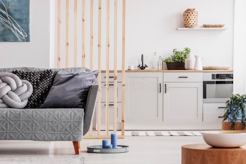 与当代厨房和灰色长椅,真正的照片的小单室公寓 库存图片