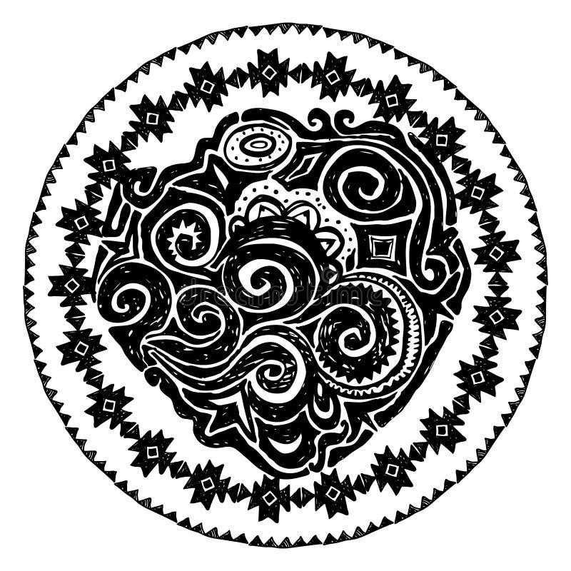 与当地之字形装饰品的美丽的卡片 圆的框架坛场 与种族阿兹台克边界的手拉的横幅模板 黑葡萄牙币 库存例证