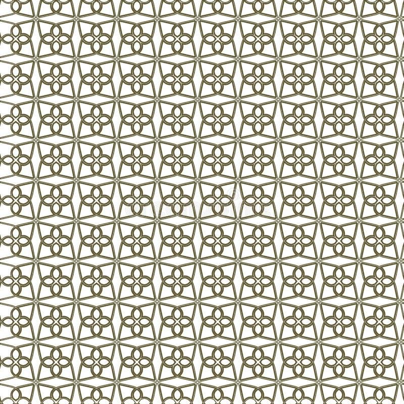 与形成经典装饰墙纸, quatrefoil的稀薄的典雅的弯曲的线的无缝的线性样式 皇族释放例证
