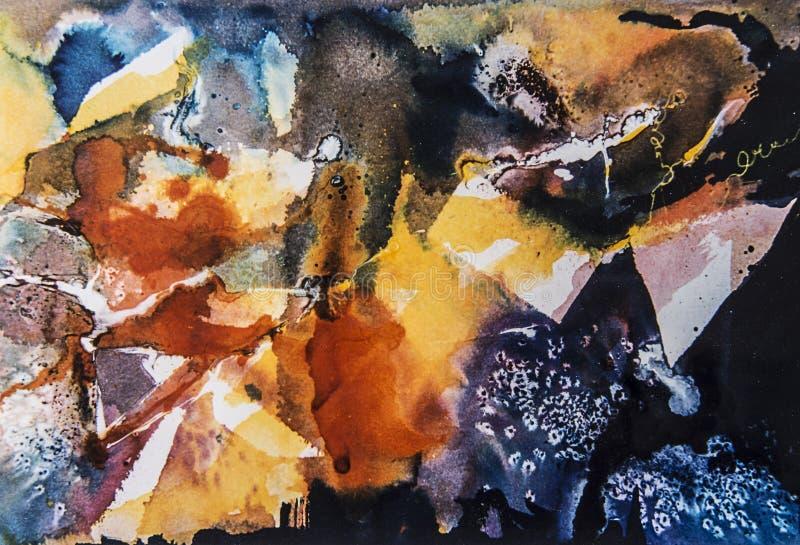 与形状的抽象水彩绘画 库存图片