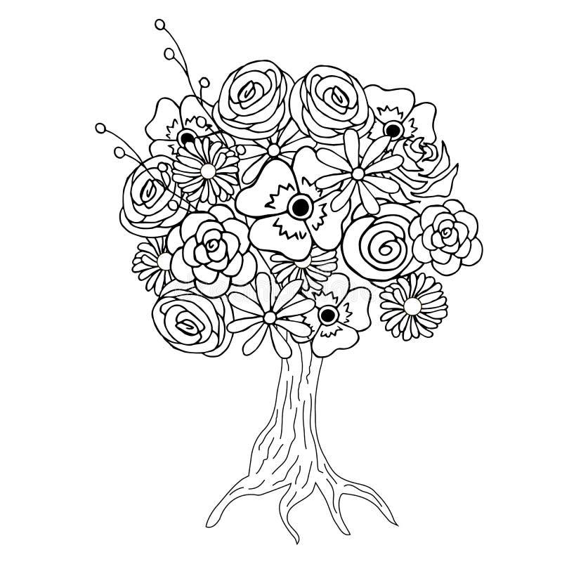 与彩图的,黑白照片的开花的树 皇族释放例证