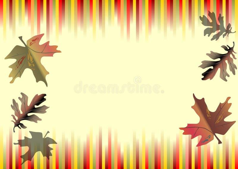 与彩带的秋天水平的传染媒介背景在顶面和下缘和色的叶子的秋天颜色 库存例证