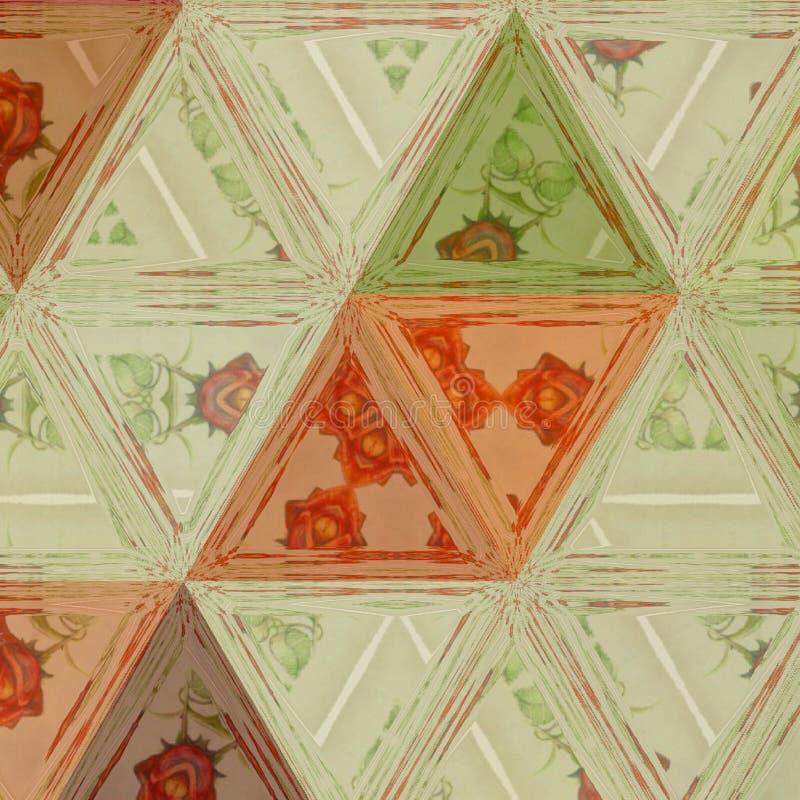 与彩色玻璃三角、菱形和栅格的几何连续的样式 皇族释放例证