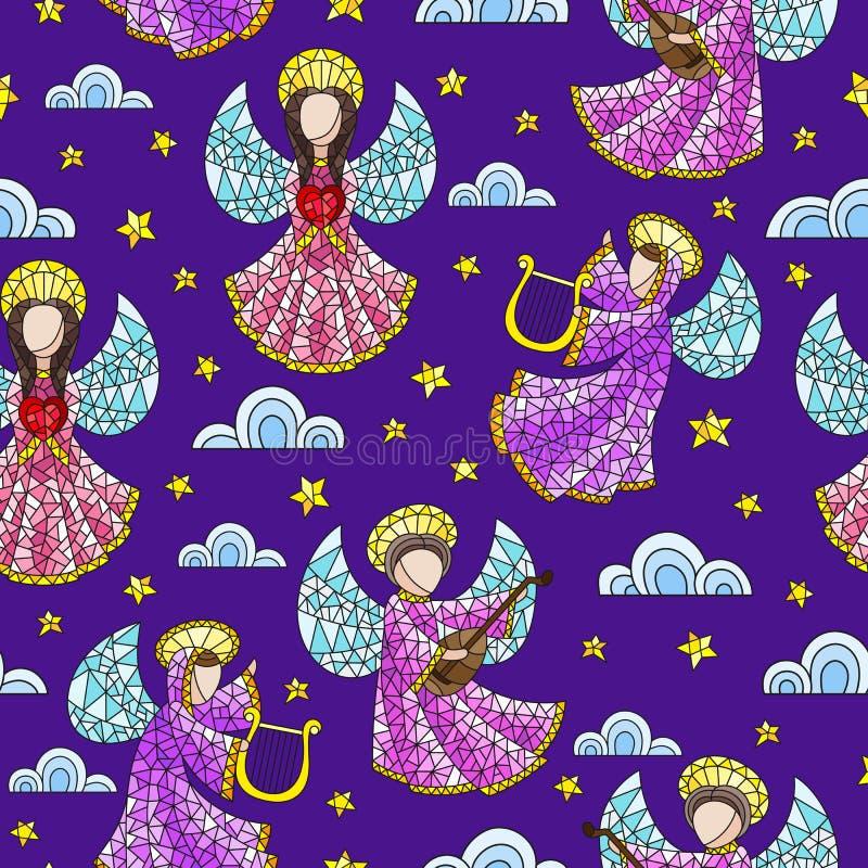 与彩色玻璃天使、云彩和星的无缝的例证在黑暗的紫色背景 向量例证