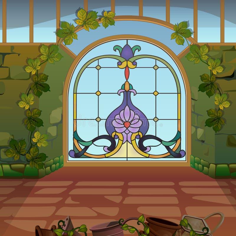 与彩色玻璃的一个被成拱形的窗口在冬景花园或温室 葡萄酒建筑学 也corel凹道例证向量 库存例证