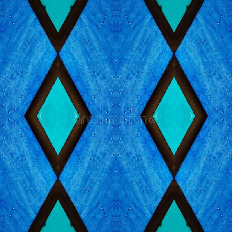 与彩色玻璃的抽象设计在蓝色、背景和纹理 皇族释放例证