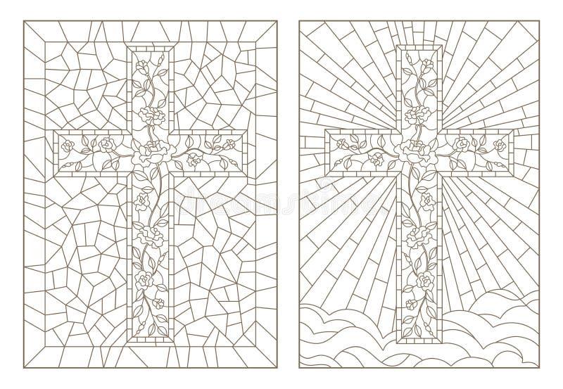 与彩色玻璃Windows的例证的等高集合与用玫瑰装饰的基督徒十字架的,在白色backgr的黑暗的概述 库存例证