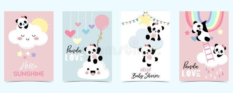 与彩虹、云彩、熊猫和雨的五颜六色的手拉的逗人喜爱的卡片 你好阳光 皇族释放例证