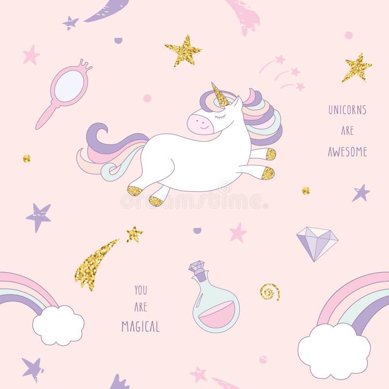 与彩虹、星和金刚石的独角兽不可思议的无缝的样式背景在粉红彩笔 对印刷品和网 皇族释放例证