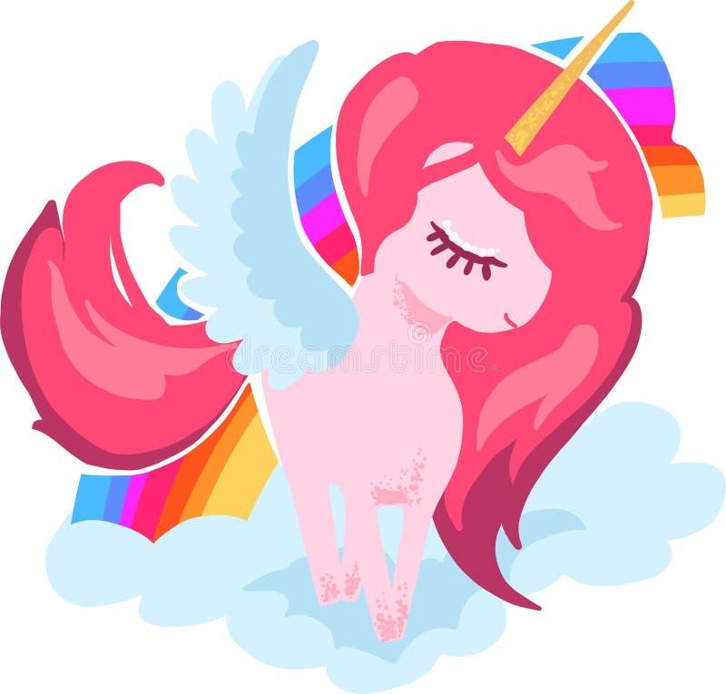 与彩虹传染媒介手图画例证的不可思议的逗人喜爱的小的独角兽画象 库存例证
