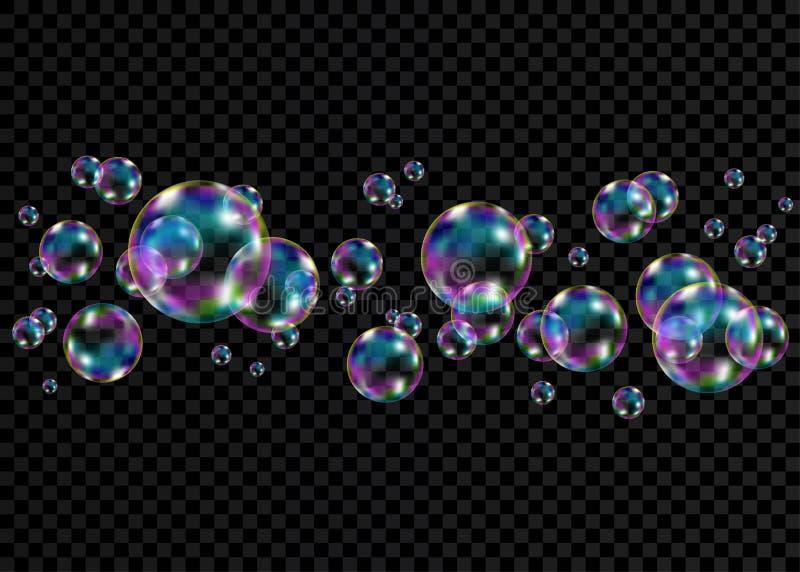 与彩虹反射的五颜六色的肥皂泡 向量例证